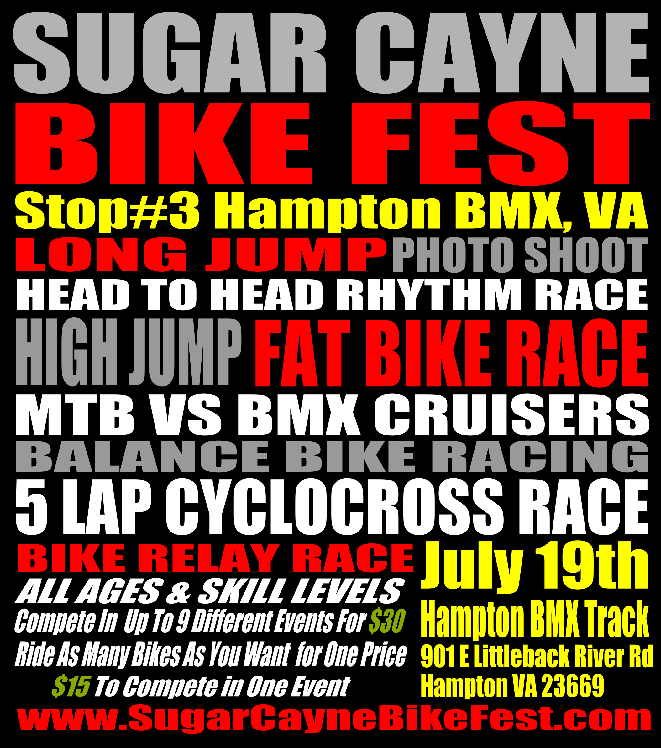 Sugar Cayne Bike Fest Hampton Flier